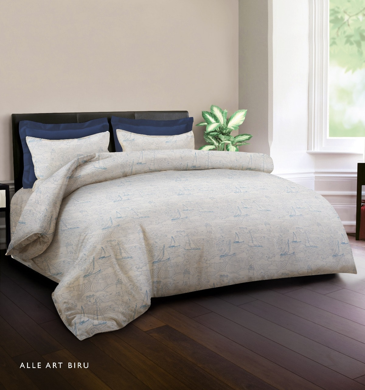 King Rabbit Set Bed Cover & Sprei Sarung Bantal King Motif Alle Art -Biru Uk 180x200x40 cm