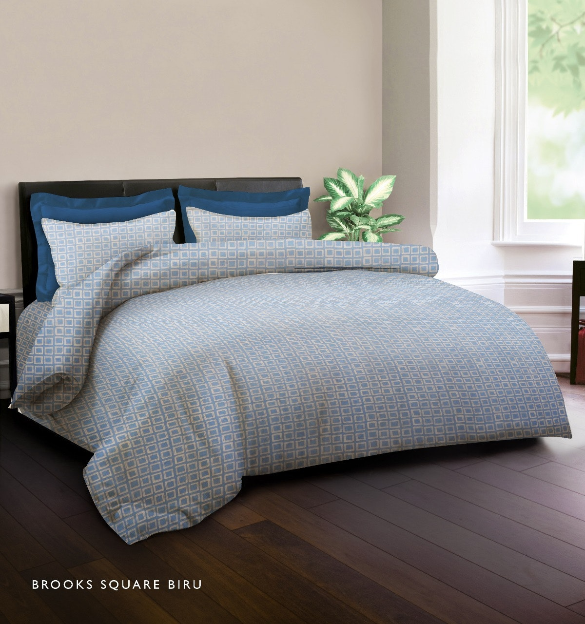 King Rabbit Set Sprei Sarung Bantal King Motif Brooks Square - Biru Uk 180x200x40 cm