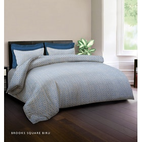 King Rabbit Set Bed Cover & Sprei Sarung Bantal Extra King Motif Brooks Square - Biru Uk 200x200x40 cm