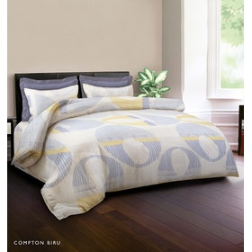 King Rabbit Set Bed Cover & Sprei Sarung Bantal Queen Motif Compthon - Biru Uk 160x200x40 cm