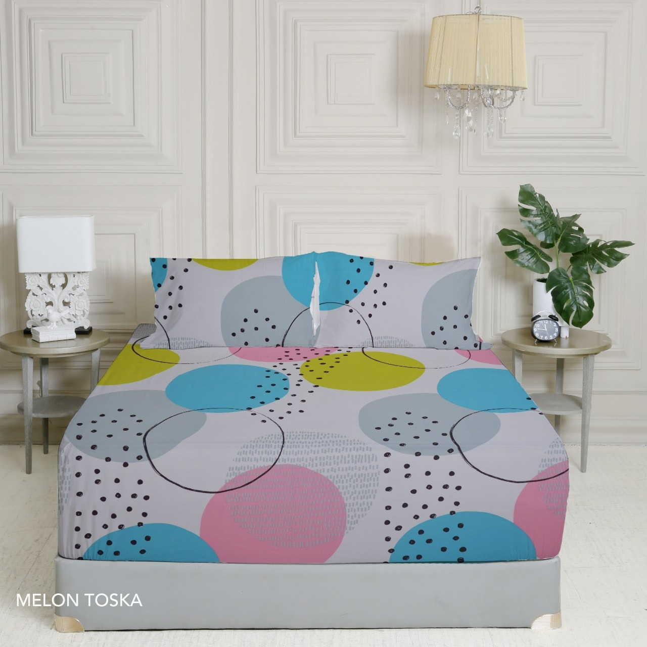 King Rabbit Set Sprei Sarung Bantal Queen Motif Melon - Toska Uk 160x200x40 cm