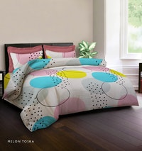 King Rabbit Set Bed Cover & Sprei Sarung Bantal Queen Motif Melon - Toska Uk 160x200x40 cm