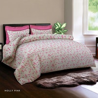 King Rabbit Set Sprei Sarung Bantal Queen Motif Holly - Pink Uk 160x200x40 cm