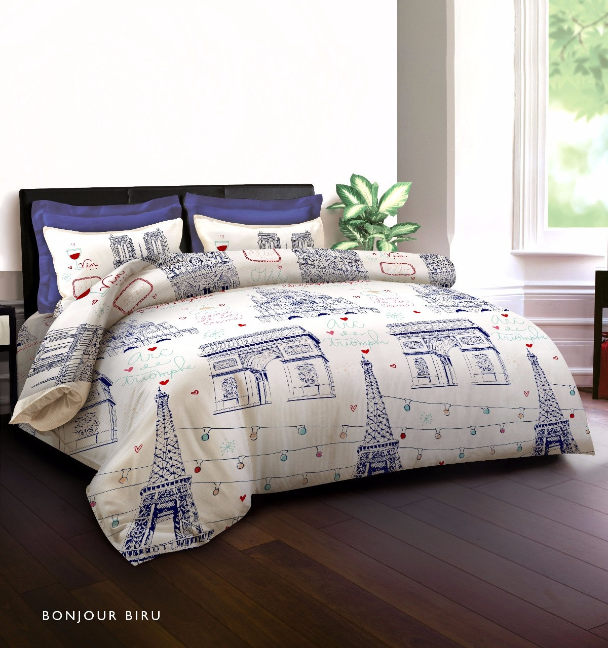 King Rabbit Set Sprei Sarung Bantal Queen Motif Bonjour - Biru Uk 160x200x40 cm