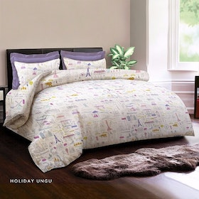 King Rabbit Set Sprei Sarung Bantal Queen Motif Holiday - Ungu Uk 160x200x40 cm