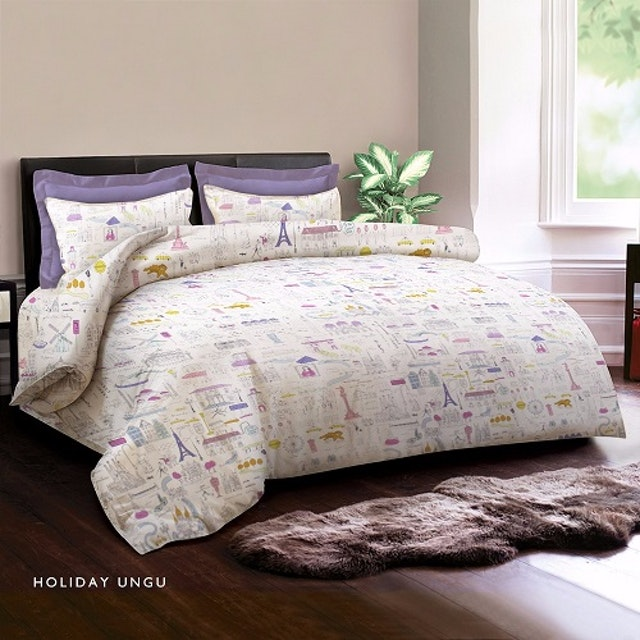 King Rabbit Set Bed Cover & Sprei Sarung Bantal Queen Motif Holiday - Ungu Uk 160x200x40 cm