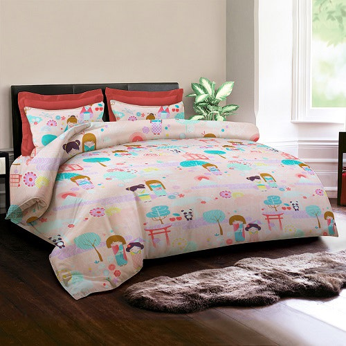King Rabbit Set Sprei Sarung Bantal Queen Motif Kawai - Peach Uk 160x200x40 cm