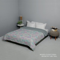King Rabbit Bed Cover Double Motif Moody Cloud - Toska Uk 230x230 cm