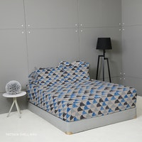King Rabbit Set Sprei Sarung Bantal Extra King Motif Moody Pattaya Shell - Biru Uk 200x200x40 cm
