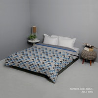 King Rabbit Bed Cover Double Motif Moody Pattaya Shell - Biru Uk 230x230 cm