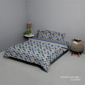King Rabbit Set Bed Cover & Sprei Sarung Bantal Extra King Motif Moody Pattaya Shell - Biru Uk 200x200x40 cm