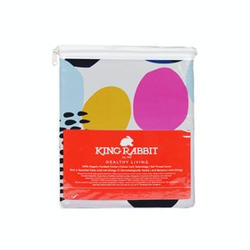 King Rabbit Set Sprei Sarung Bantal Extra King Motif Poke- Orange Uk 200x200x40 cm