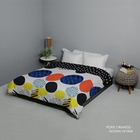 King Rabbit Bed Cover Double Motif Poke- Orange Uk 230x230 cm