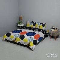 King Rabbit Set Bed Cover & Sprei Sarung Bantal Queen Motif Poke- Orange Uk 160x200x40 cm