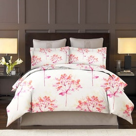 King Rabbit Set Bed Cover & Sprei Sarung Bantal Queen Motif Lili Valley - Pink Uk 160x200x40 cm