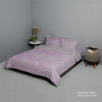King Rabbit Set Bed Cover & Sprei Sarung Bantal Queen Motif Ling Ling - Pink Uk 160x200x40 cm