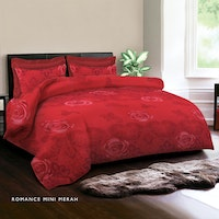 King Rabbit Set Bed Cover & Sprei Sarung Bantal Queen Motif Romance Mini - Merah Uk 160x200x40 cm