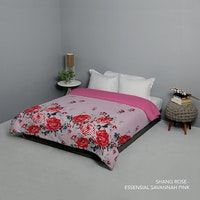 King Rabbit Bed Cover Double Motif Shang Rosa - Pink Uk 230x230 cm