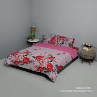 King Rabbit Set Bed Cover & Sprei Sarung Bantal Queen Motif Shang Rosa - Pink Uk 160x200x40 cm