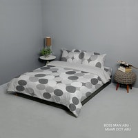 King Rabbit Set Bed Cover & Sprei Sarung Bantal Single Motif Boss Man - Abu Uk 100x200x40 cm