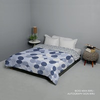 King Rabbit Bed Cover Double Motif Boss Man - Biru Uk 230x230 cm