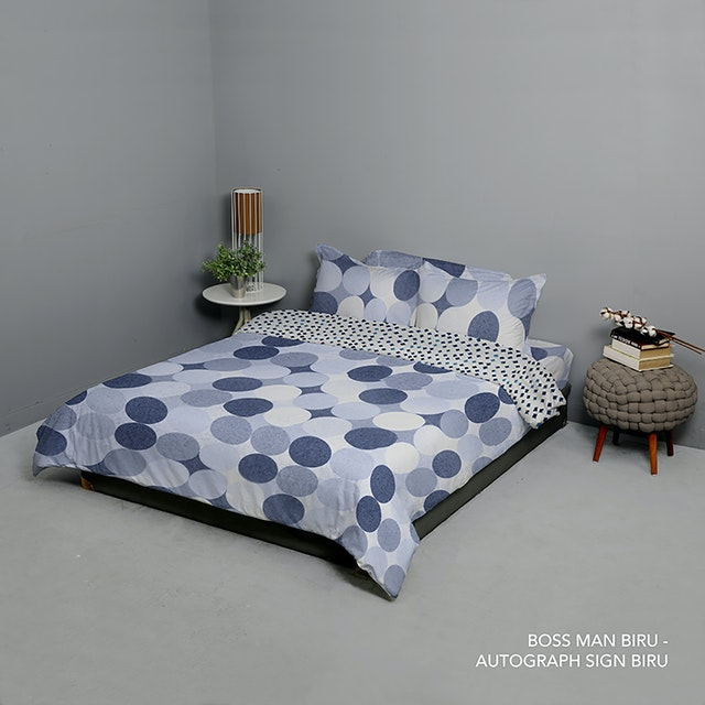 King Rabbit Set Bed Cover & Sprei Sarung Bantal Queen Motif Boss Man - Biru Uk 160x200x40 cm