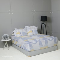 King Rabbit Set Sprei Sarung Bantal Queen Motif Compton - Biru Uk 160x200x40 cm
