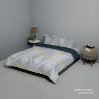 King Rabbit Set Bed Cover & Sprei Sarung Bantal King Motif Compton - Biru Uk 180x200x40 cm