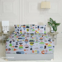 King Rabbit 7STAR Set Sprei Sarung Bantal Queen Motif Asahi - Orange Uk 160x200x40cm