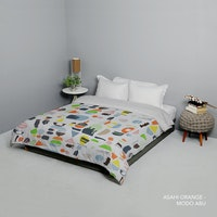 King Rabbit 7STAR Bed Cover Single Motif Asahi - Orange Uk 140x230cm