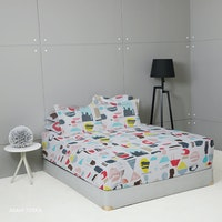 King Rabbit 7STAR Set Sprei Sarung Bantal Queen Motif Asahi - Toska Uk 160x200x40cm