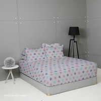 King Rabbit 7STAR Set Sprei Sarung Bantal Single Motif Papilon Dot - Ungu Uk 100x200x40cm