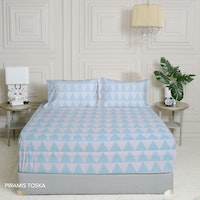 King Rabbit 7STAR Set Sprei Sarung Bantal Single Motif Piramis - Toska Uk 100x200x40cm
