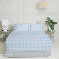 King Rabbit 7STAR Set Sprei Sarung Bantal Queen Motif Piramis - Toska Uk 160x200x40cm