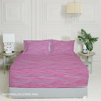 King Rabbit 7STAR Set Sprei Sarung Bantal Queen Motif Watermelon Strip - Pink Uk 160x200x40cm