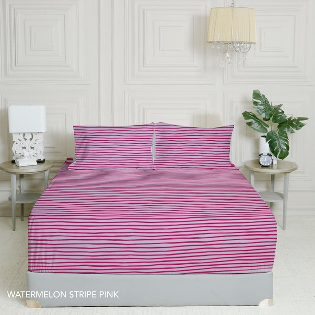 King Rabbit 7STAR Set Sprei Sarung Bantal Extra King Watermelon Strip - Pink Uk 200x200x40cm