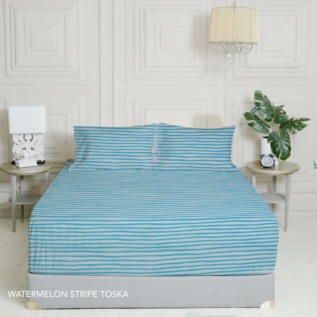 King Rabbit 7STAR Set Sprei Sarung Bantal Single Motif Watermelon Strip - Toska Uk 100x200x40cm
