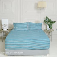 King Rabbit 7STAR Set Sprei Sarung Bantal Extra King Watermelon Strip - Toska Uk 200x200x40cm