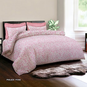 King Rabbit 7STAR Set Sprei Sarung Bantal Single Motif Phlox - Pink Uk 100x200x40cm