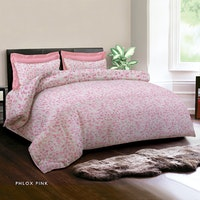 King Rabbit 7STAR Set Sprei Sarung Bantal King Motif Phlox - Pink Uk 180x200x40cm