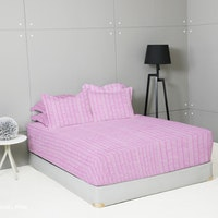 King Rabbit Set Sprei Sarung Bantal Extra King Hansel - Pink Uk 200x200x40 cm