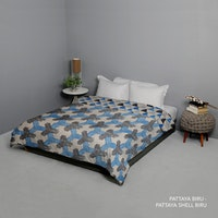 King Rabbit Bed Cover Double Motif Pattaya - Biru Uk 230x230 cm