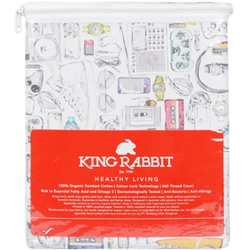 King Rabbit Set Sprei Sarung Bantal Full Motif Hip Hop - Hitam  Uk 120x200x40 cm