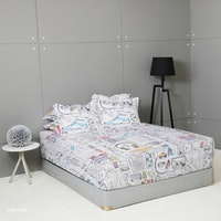 King Rabbit Set Sprei Sarung Bantal Queen Motif Hip Hop - Hitam  Uk 160x200x40 cm