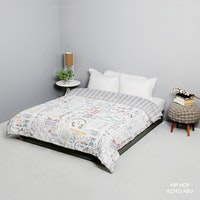 King Rabbit Bed Cover Single Motif Hip Hop - Hitam  Uk 140x230 cm