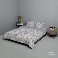 King Rabbit Set Bed Cover & Sprei Sarung Bantal Queen Motif Hip Hop - Hitam  Uk 160x200x40 cm