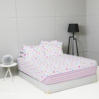 King Rabbit Set Sprei Sarung Bantal Queen Motif Baby Bubble - Pink Uk 160x200x40 cm