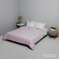 King Rabbit Bed Cover Single Motif Baby Bubble - Pink Uk 140x230 cm