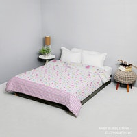 King Rabbit Bed Cover Double Motif Baby Bubble - Pink Uk 230x230 cm