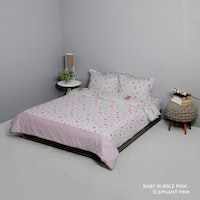 King Rabbit Set Bed Cover & Sprei Sarung Bantal Queen Motif Baby Bubble - Pink Uk 160x200x40 cm